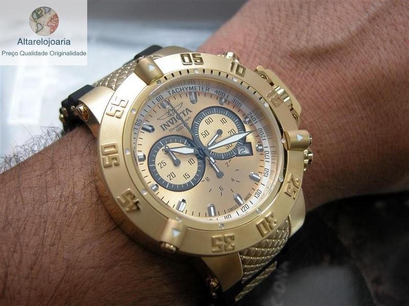 89a83f98ddc relógio invicta cronógrafo subaqua suíço 5517 plaque ouro. Carregando zoom.