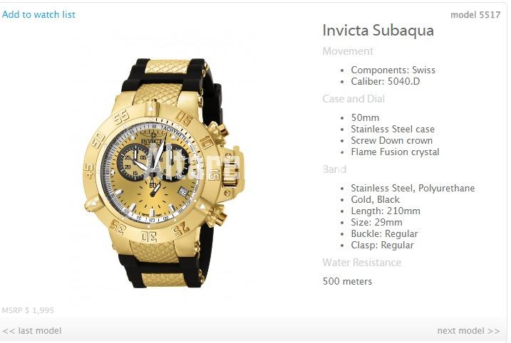 46151e7c9f4 Relógio Invicta Cronógrafo Subaqua Suiço 5517 Plaque Ouro - R  1.649 ...