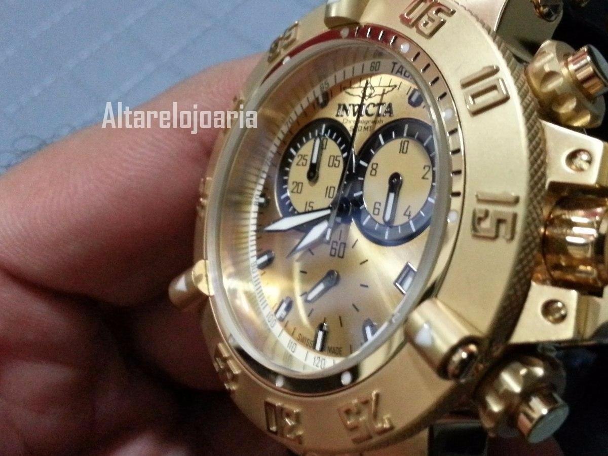 a1ac885b482 relógio invicta cronógrafo subaqua suiço 5517 plaque ouro. Carregando zoom.
