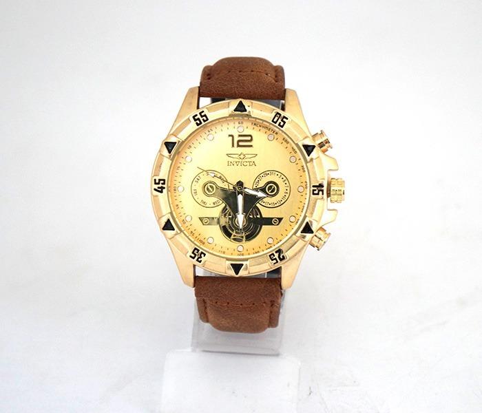 5a367be7907 Relógio Invicta Dourado Com Pulseira De Couro - R  91
