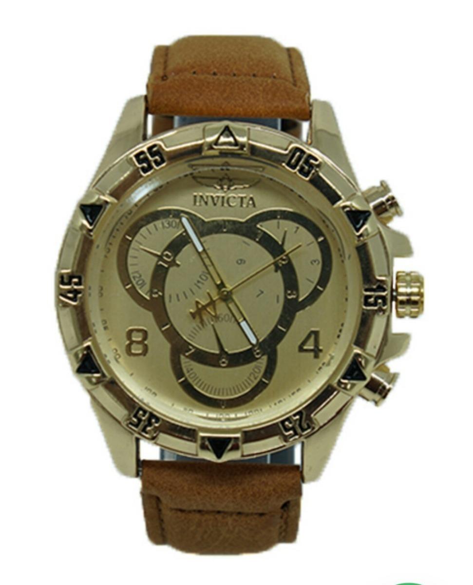 55699560c6c relógio invicta dourado com pulseira de couro caramelo. Carregando zoom.