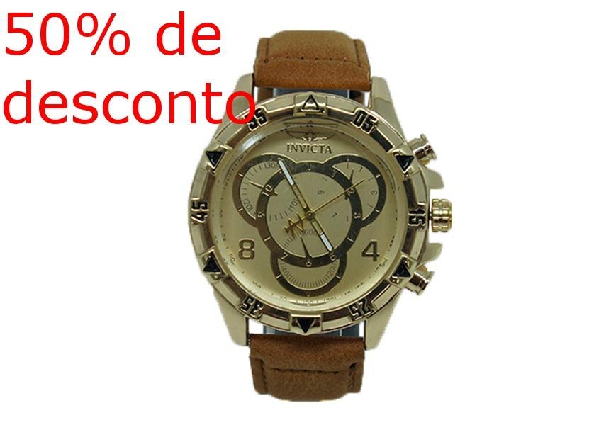 fef5b438e50 Relógio Invicta Dourado Com Pulseira De Couro Caramelo - R  75