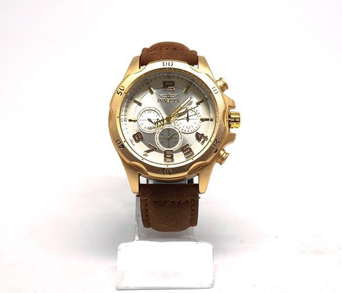 29f9a09bfca Relógio Invicta Dourado Com Pulseira De Couro Marrom - R  91