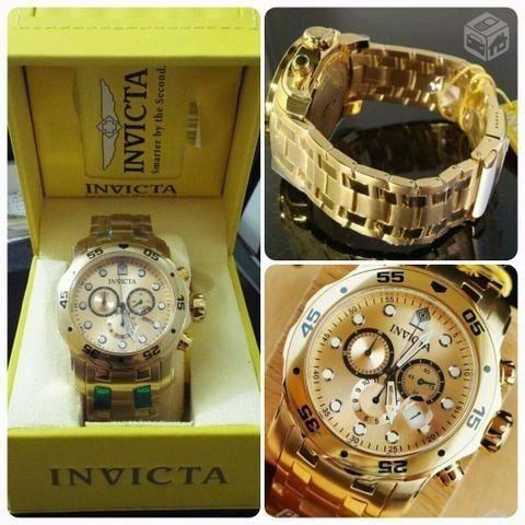 a5dd1312da4 Relógio Invicta Dourado Pro Diver 0074 - R  990