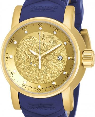relógio invicta dragon yakusa 18215 - dourado azul masculino