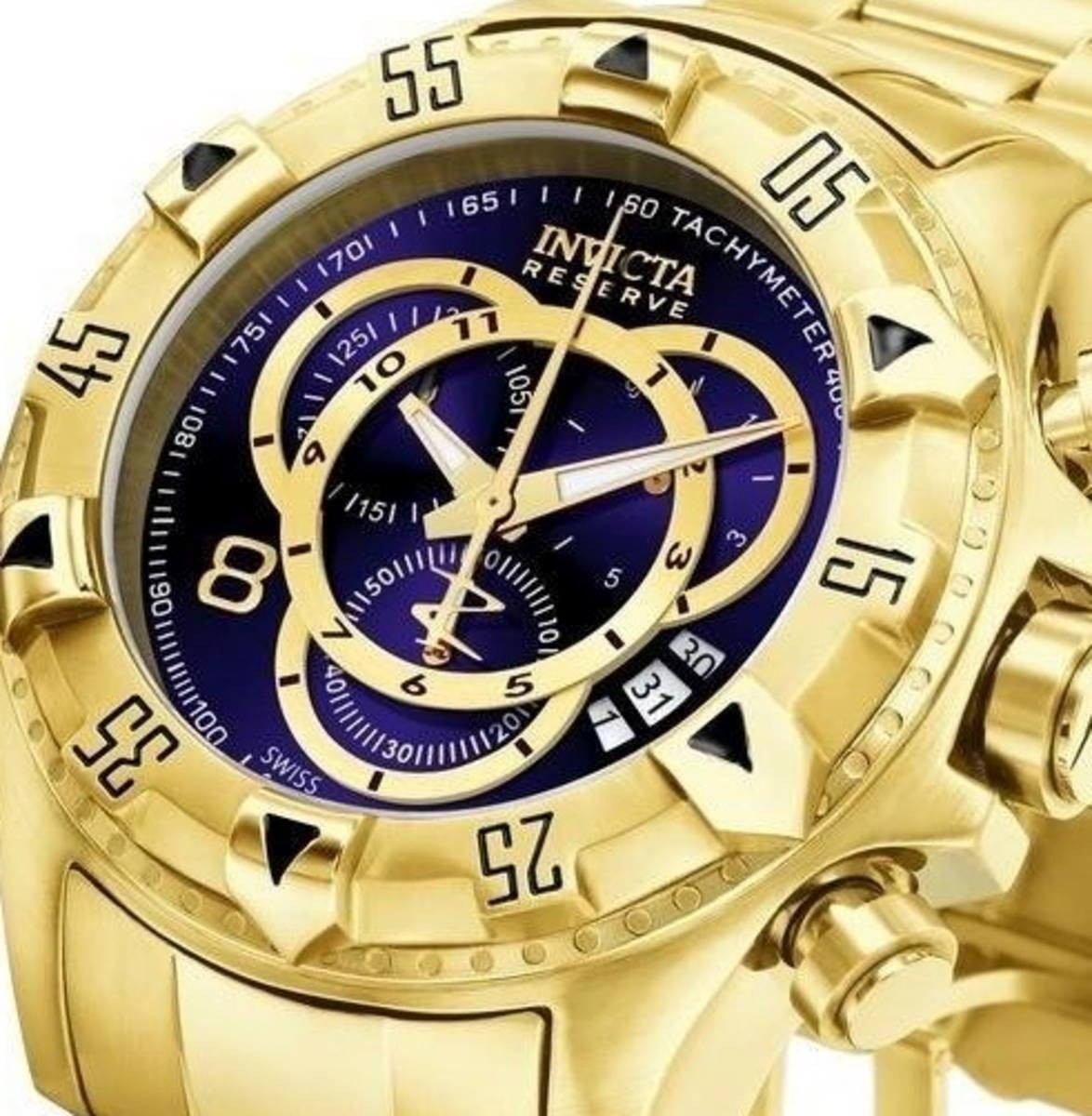 aaae46bb7ed relógio invicta excursion 6469 original dourado azul 18k. Carregando zoom.