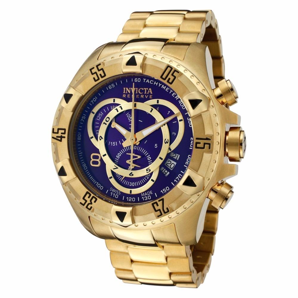 5c67ec55b4e relógio invicta excursion 6469 original dourado fundo azul. Carregando zoom.