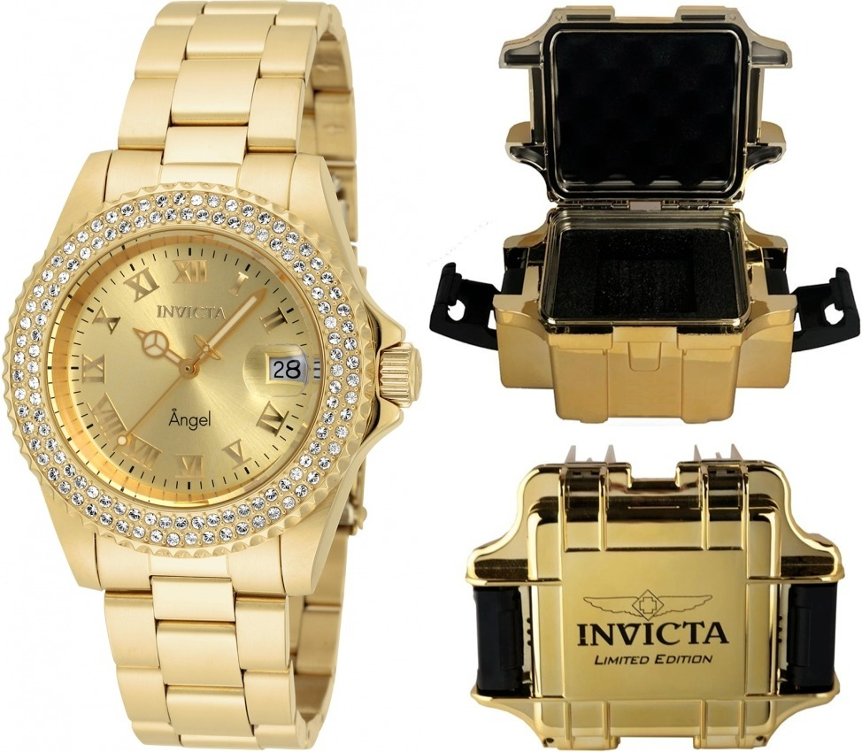 52debd0d9d6 relógio invicta feminino 19513 original banhado ouro maleta. Carregando  zoom.
