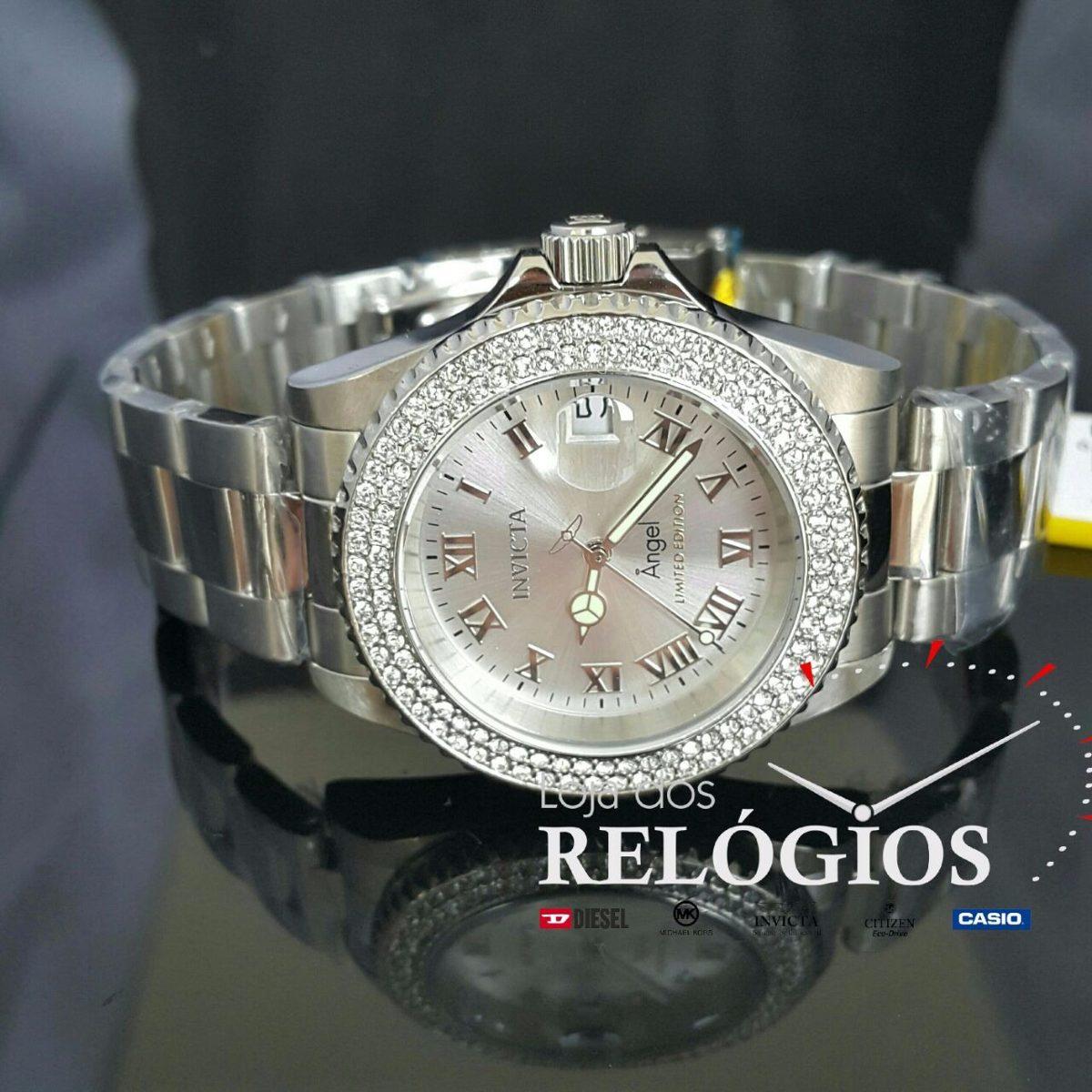 e19e55dccd6 relógio invicta feminino angel 24613 100%original prata. Carregando zoom.