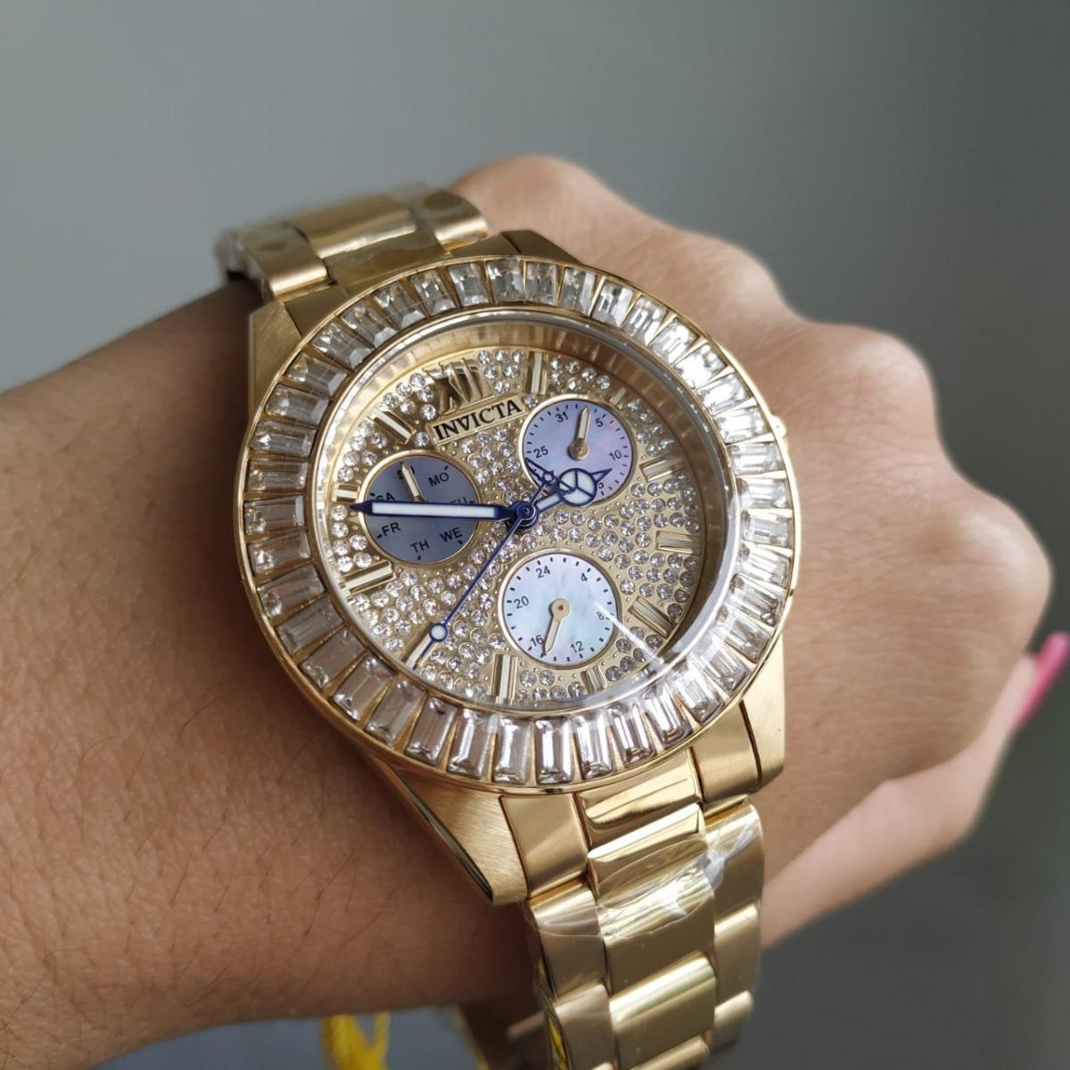 7ab9aff52d8 relógio invicta feminino original 28449 dourado com cristais. Carregando  zoom.