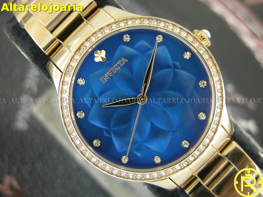 15563864e relógio invicta feminino plaque ouro fundo azul 24537. Carregando zoom.
