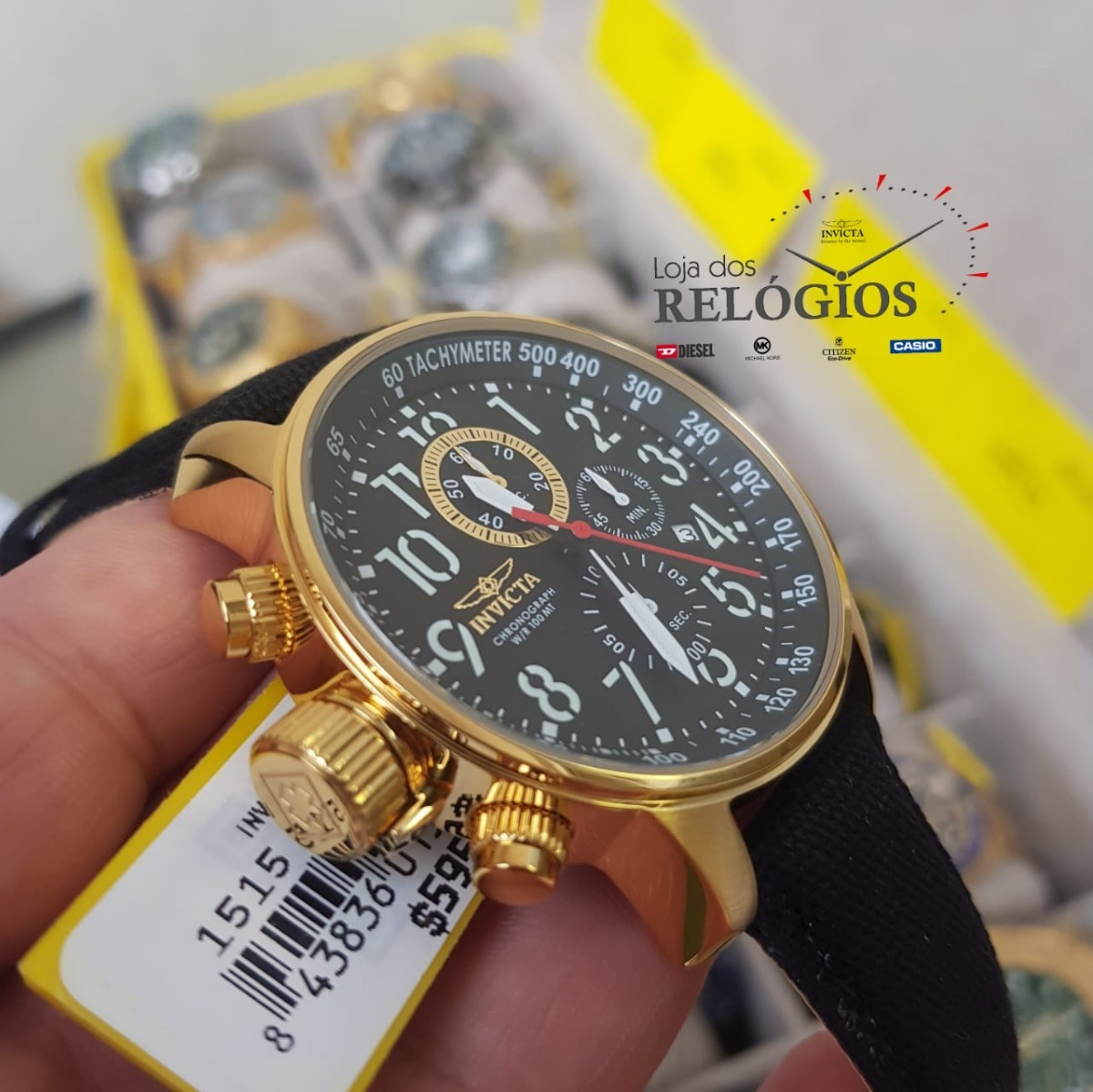 a5852161f3a relógio invicta iforce 1515 original puls.couro revestido. Carregando zoom.