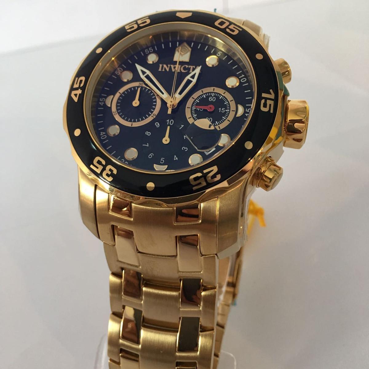 72edb629764 relógio invicta masculino 0072 pro diver 48mm banhado a ouro. Carregando  zoom.