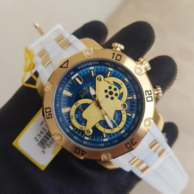 b8b0f179099 Relógio Invicta Original 23423 Dourado Pulseira Branca - R  649