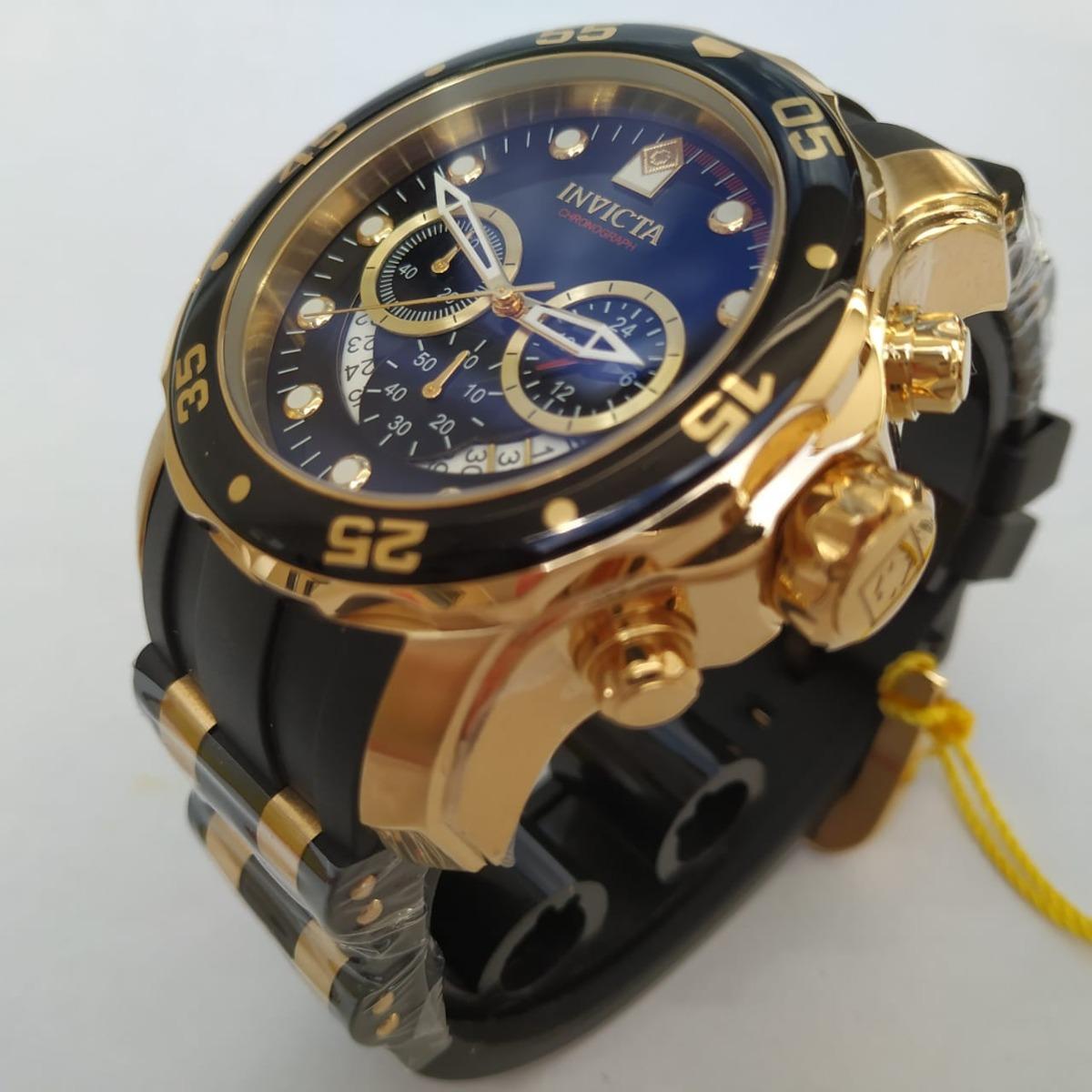 57bb7bf72e9 Relógio Invicta Preto 6981 B. Ouro 18k Original C Brinde - R  679