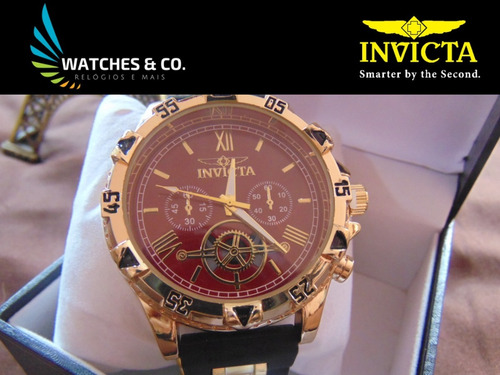 relógio invicta preto com dourado pronta entrega