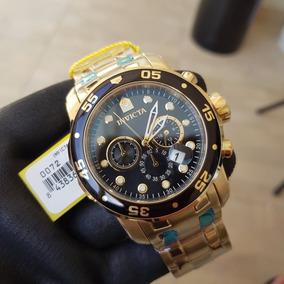 c98be3662 Relógio Invicta Pro Diver 0072 B. Ouro 18k Mostrador Preto
