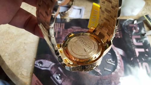 relógio invicta pro diver 0072 - banhado a ouro 18 k crono