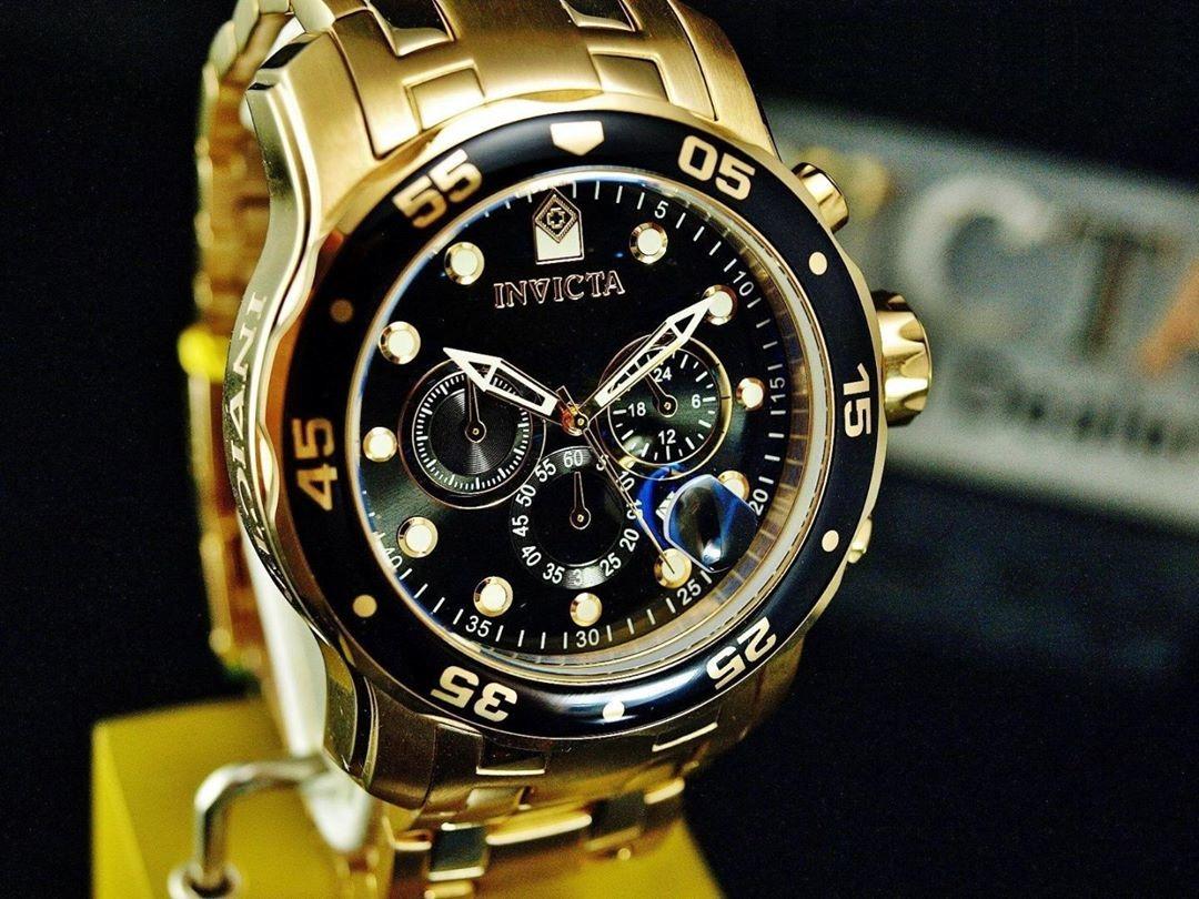 7b1d0239424 relógio invicta pro diver 0072 original banhado ouro 18k. Carregando zoom.