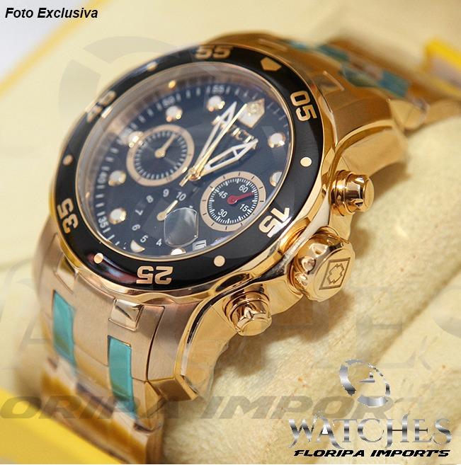 be66b325964 Relógio Invicta Pro Diver 0072 Preto Dourado Original - R  639