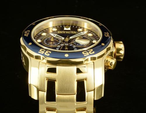relógio invicta pro diver 0073 original b. ouro 18k f. azul