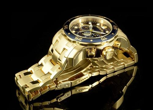 relógio invicta pro diver 0073 original dourado b. ouro 18k