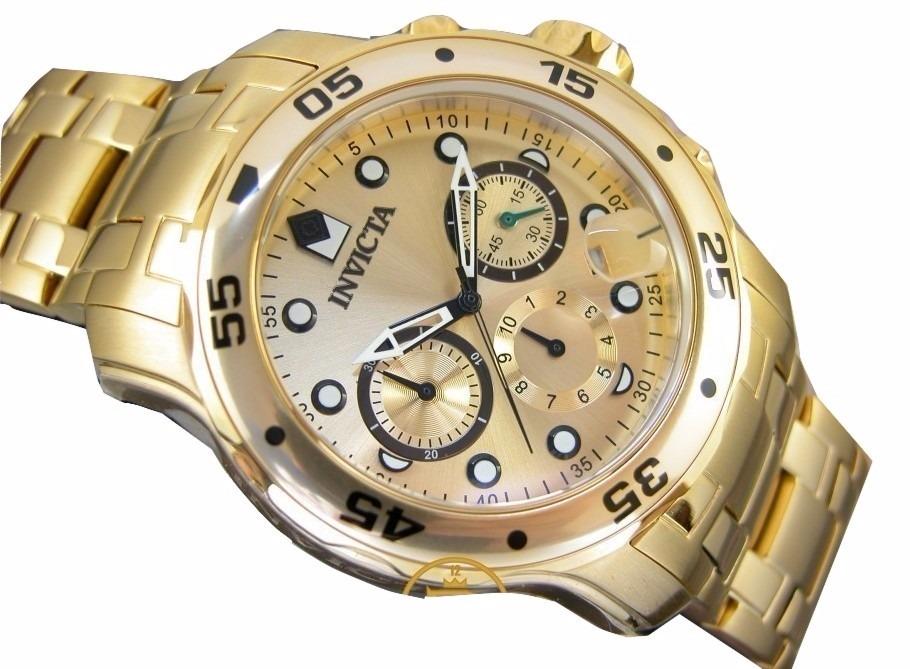 4f2cce89fad relogio invicta pro diver 0074 banhado crono dourado. Carregando zoom.