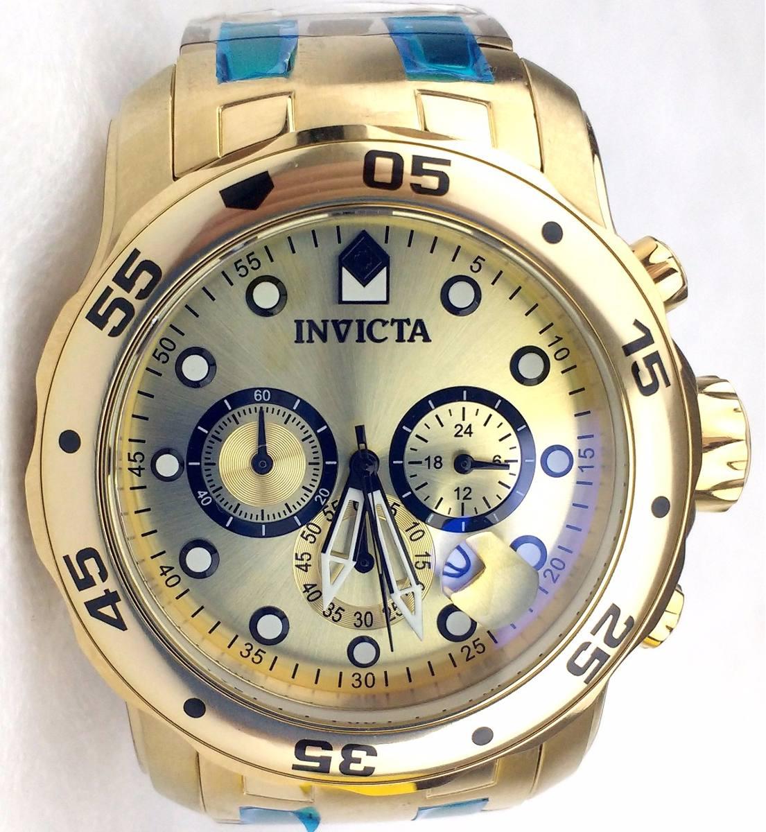 25424fb0333 relógio invicta pro diver 0074 banhado ouro 18k original. Carregando zoom.