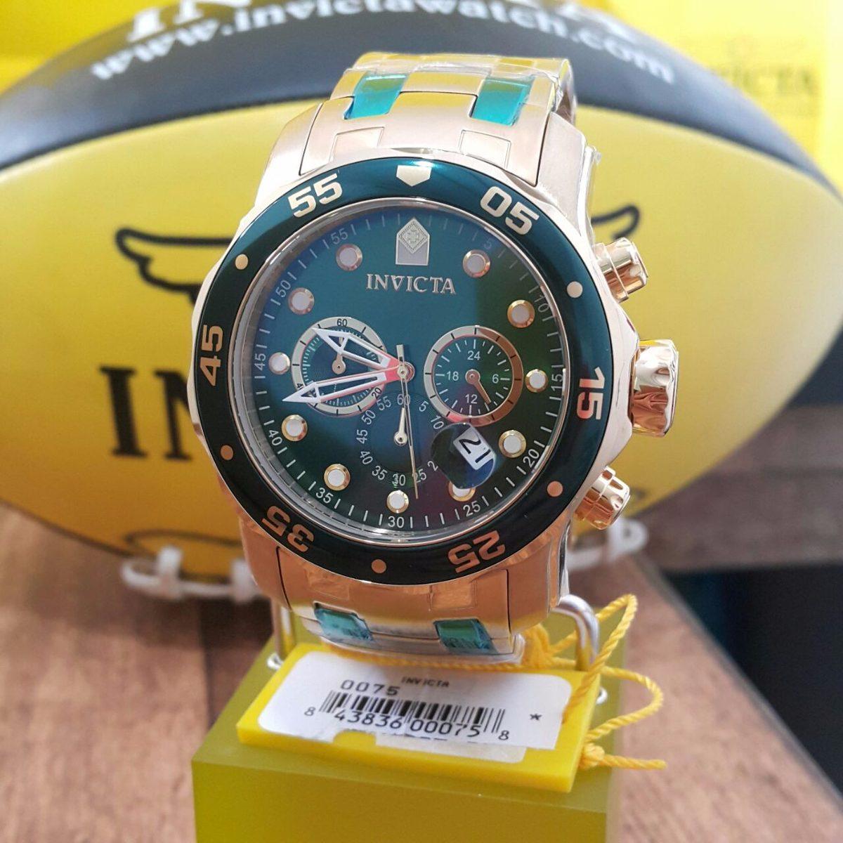 c4c00fd924b relógio invicta pro diver 0075 21925 ouro 18k dourado verde. Carregando  zoom.