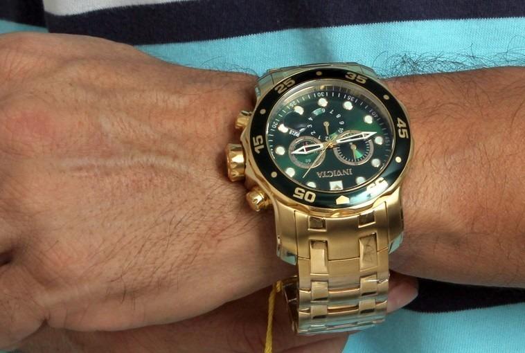 307a044f399 Relógio Invicta Pro Diver 0075 Dourado Masculino Completo - R  462 ...