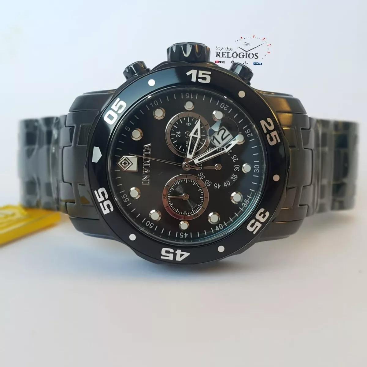 1c90a54b9a3 relógio invicta pro diver 0076 21926 preto original + brinde. Carregando  zoom.