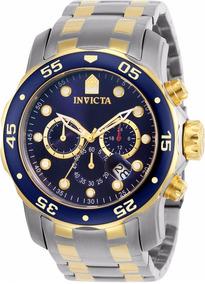 4217171ee Relógio Invicta Pro Diver 0077 Misto Aço E Ouro 100% 2018