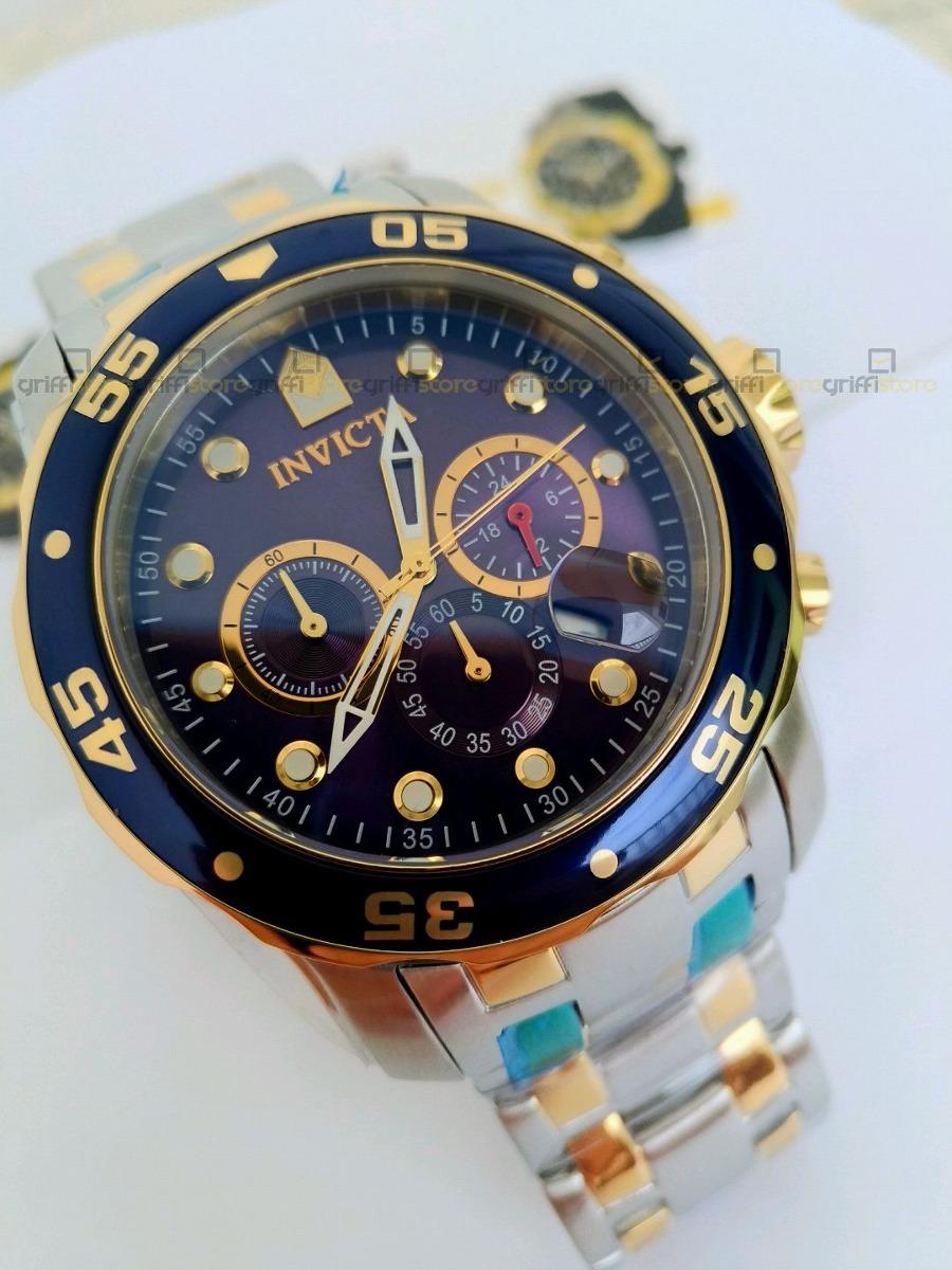 b7917ca4a48 relógio invicta pro diver 0077 original prata com dourado. Carregando zoom.