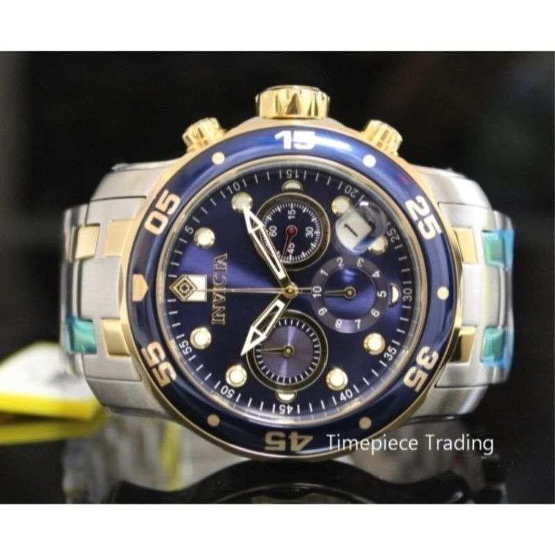 f024355efe0 relógio invicta pro diver 0077 prata com dourado. Carregando zoom.