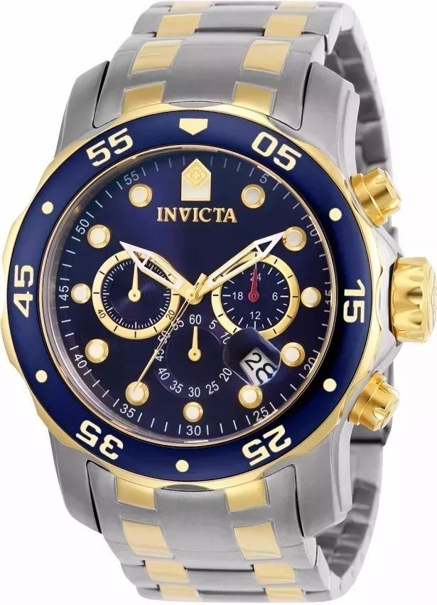 eeba920c1eb relógio invicta pro diver 0077 prata dourado masculino. Carregando zoom.