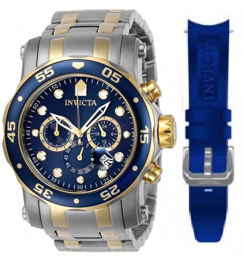 bc908180767 relógio invicta pro diver 0077 prateado - azul masculino. Carregando zoom.