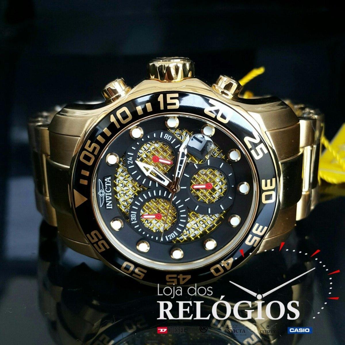 d8b572e68ad relógio invicta pro diver 19837 dourado 18k. Carregando zoom.