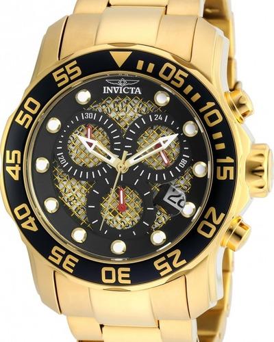 relógio invicta pro diver 19837 - preto dourado masculino