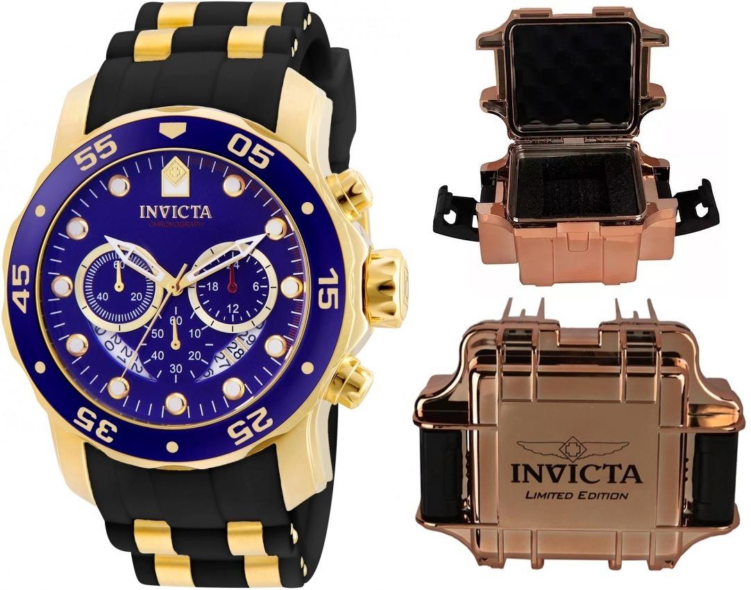 05391cf7d79 relógio invicta pro diver 21929 banhado ouro original maleta. Carregando  zoom.