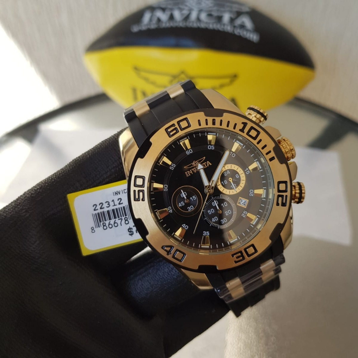 6d1048b69ba relógio invicta pro diver 22312 22340 dourado borracha preto. Carregando  zoom.