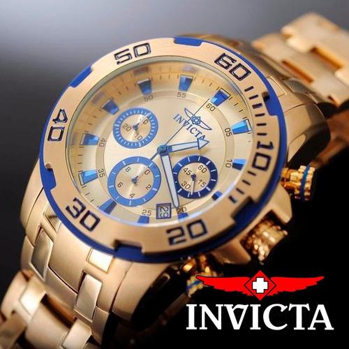 relógio invicta pro diver 22320 ouro 18k masculino c/ nota f