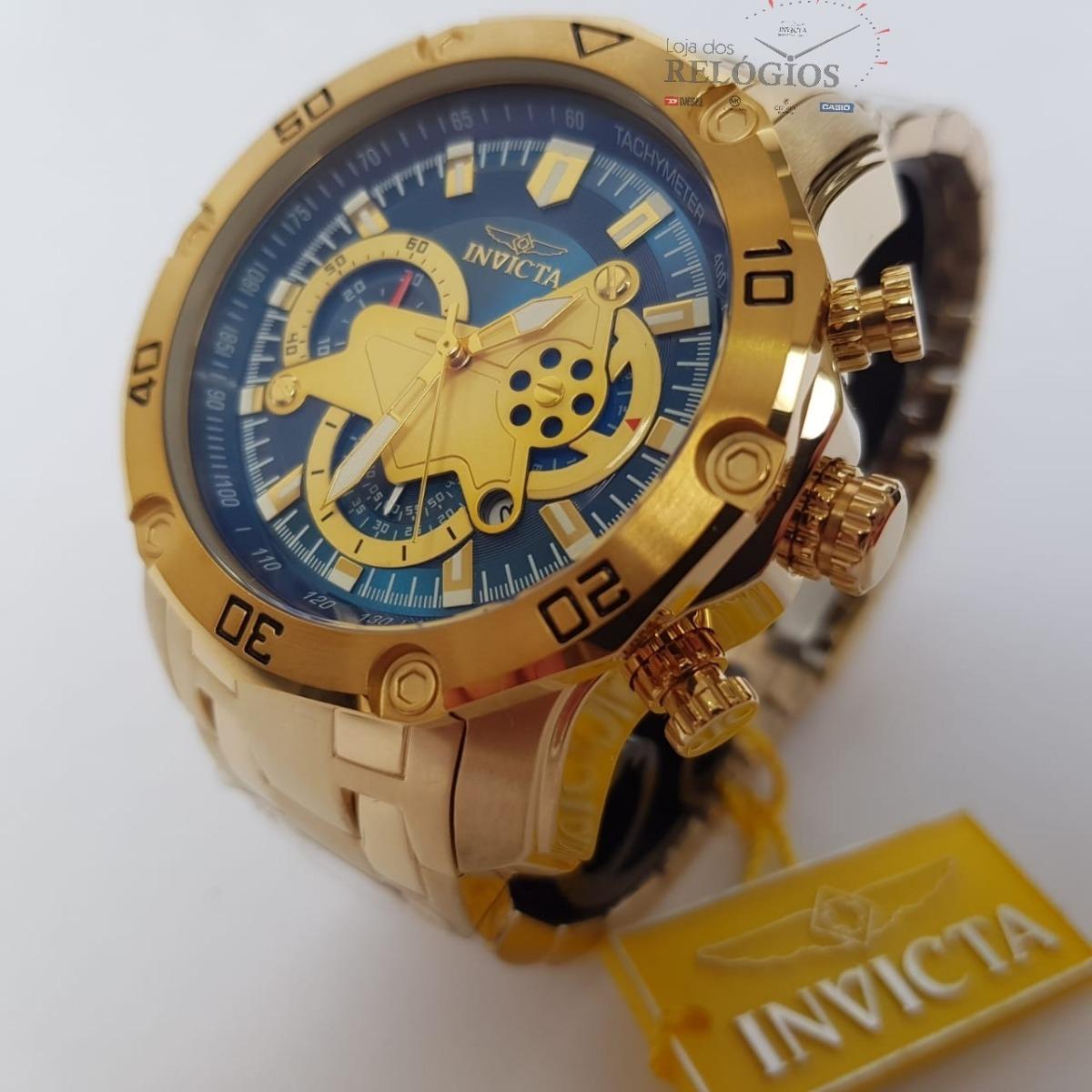 24fad8d5b47 Relógio Invicta Pró Diver 22765 Original Ouro 18k Com Azul - R  679 ...