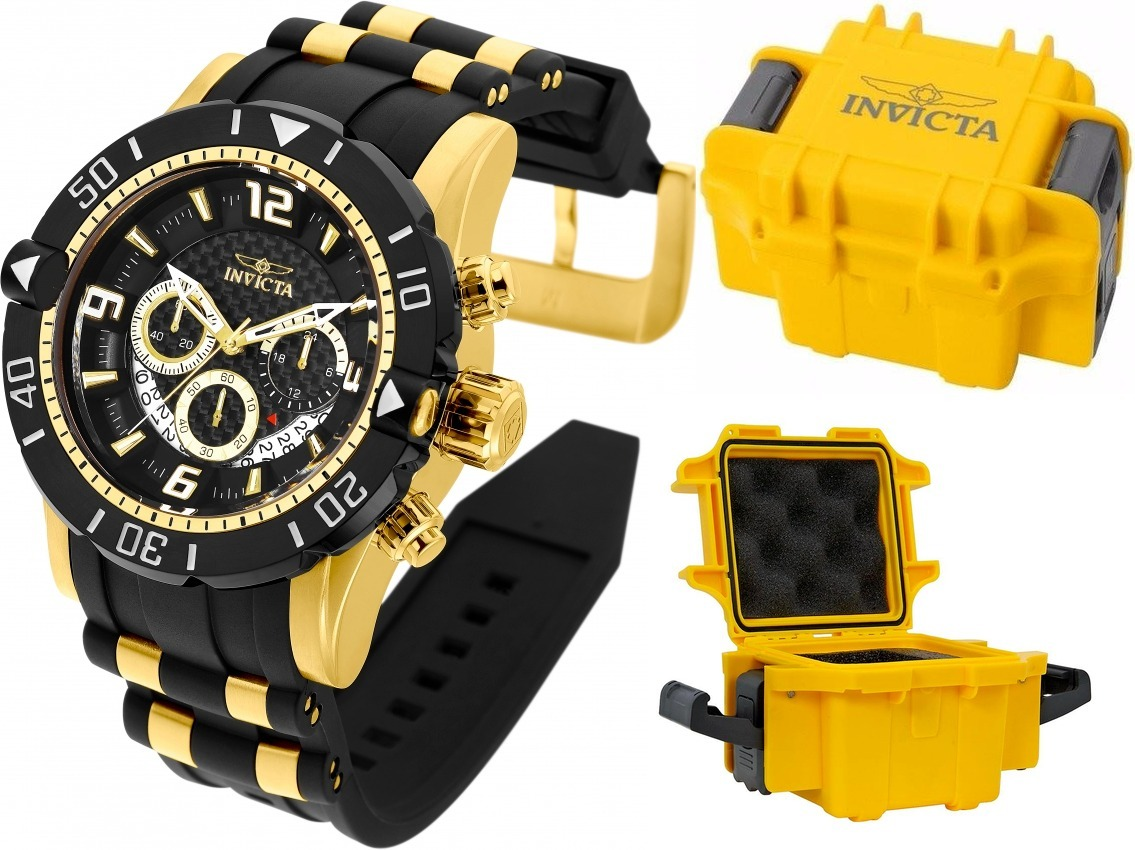 083f6fa1185 relógio invicta pro diver 23702 banhado ouro maleta original. Carregando  zoom.