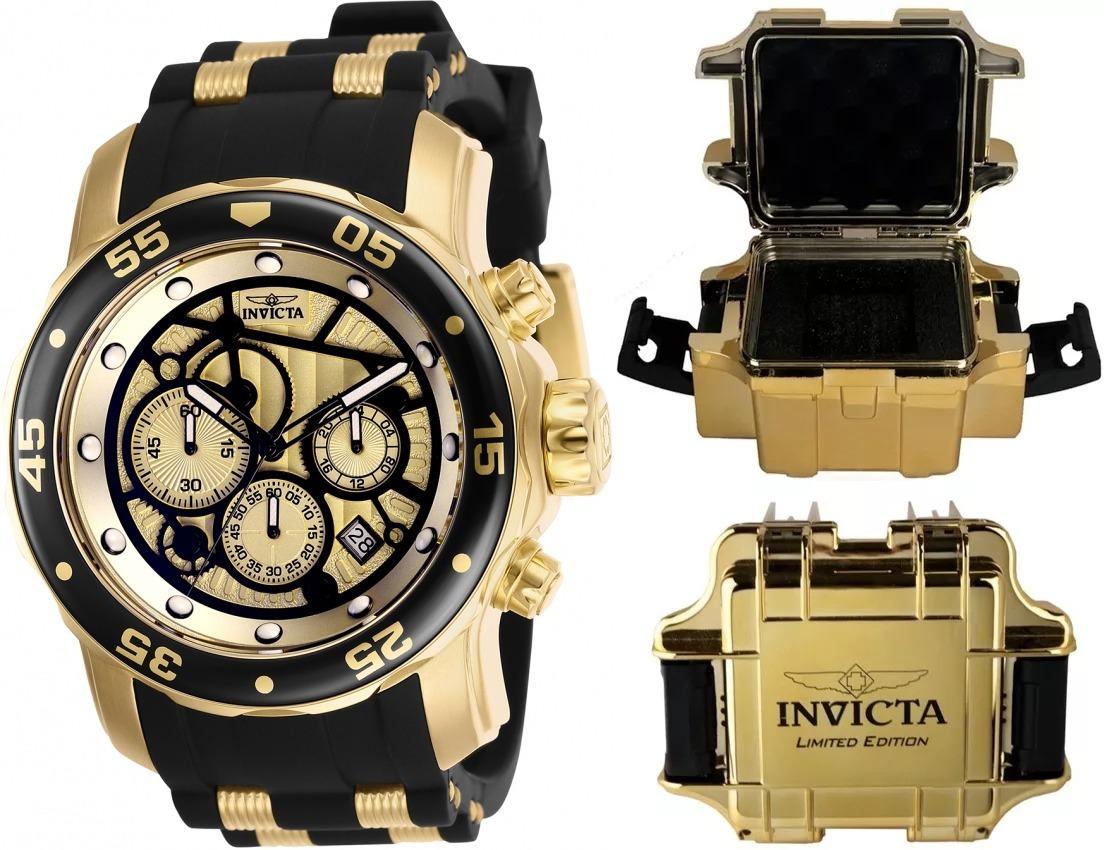 e60e411f208 Relógio Invicta Pro Diver 25709 Original Banhado Ouro Maleta - R ...