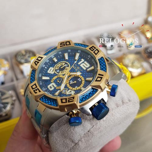 relógio invicta pro diver 25855 original  prata dourado azul