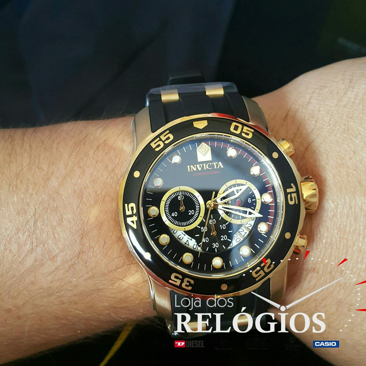 27d3fee6d1d relógio invicta pro diver 6981 21928 dourado b. ouro 18k. Carregando zoom.