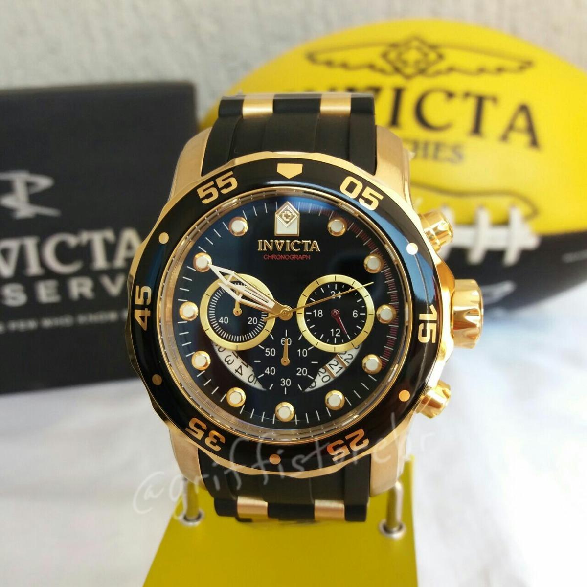 274fc82aa07 relógio invicta pro diver 6981 original b. ouro 18k preto. Carregando zoom.
