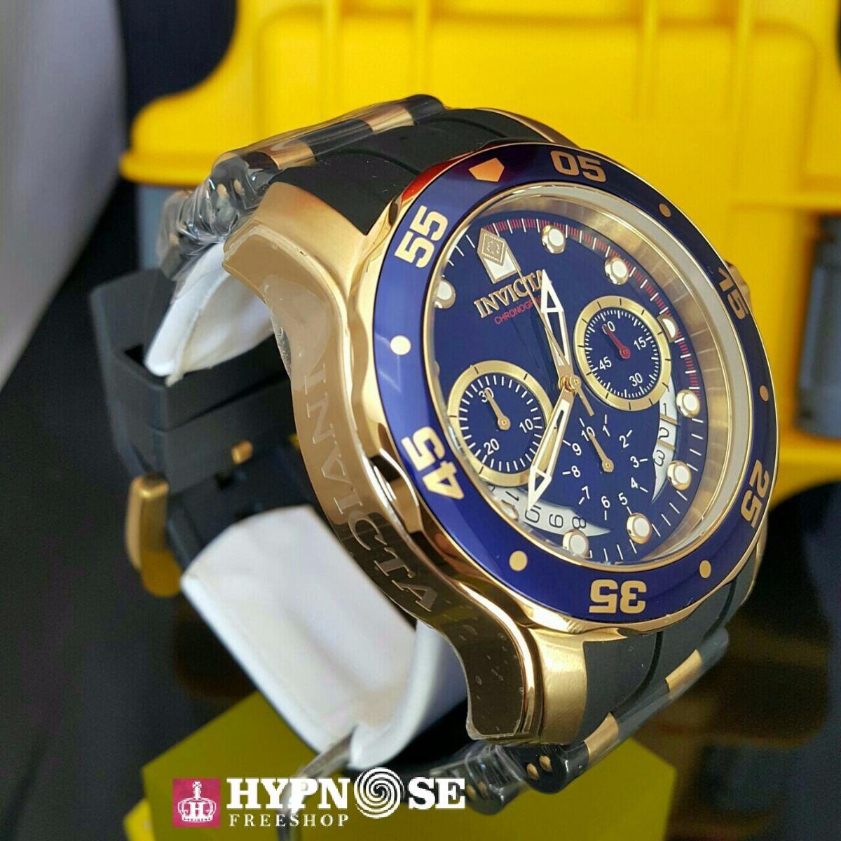 5eb67033fe3 relógio invicta pro diver 6983 original dourado com azul. Carregando zoom.
