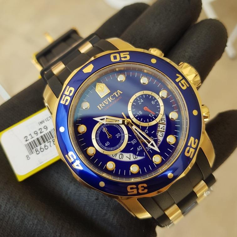 e0c157cc3c2 Relógio Invicta Pro Diver 6983 Original Ouro 18k Puls. Preta - R  600