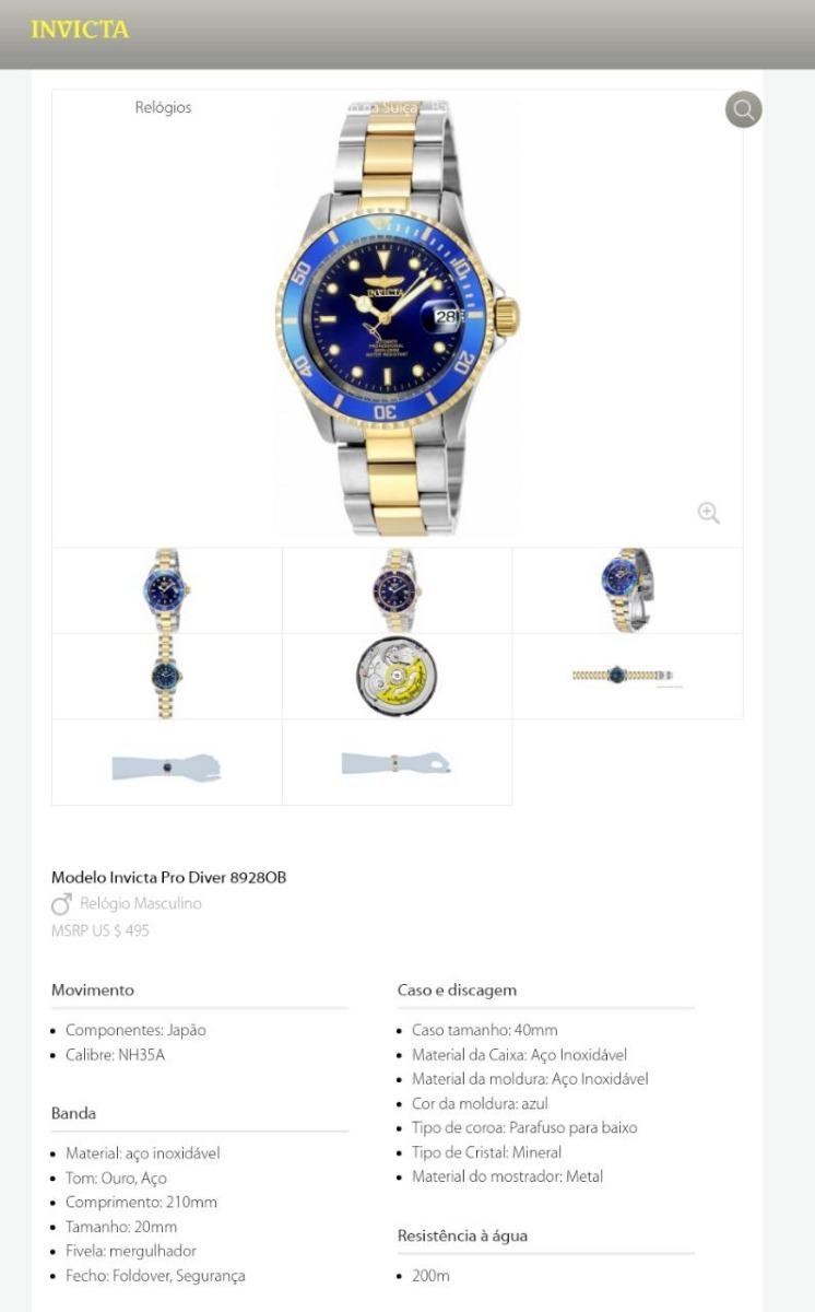 90f3a744054 Relógio Invicta Pro Diver 8928ob Original Prata C  Dourado - R  850 ...